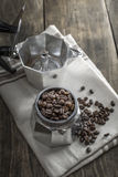 Italian coffee  maker pot filled with coffee beans Stock Photos