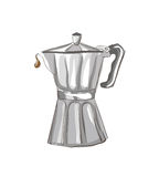 Italian Coffee maker sketch Royalty Free Stock Image