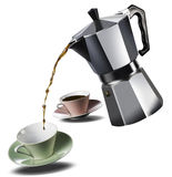 Italian coffee maker and two coffee cups Royalty Free Stock Photography