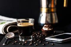 Italian coffee photography black background Stock Photos