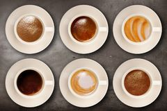 Italian coffee on wall background. Cup of coffee on wall background Stock Image