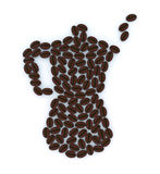 Italian coffepot with coffee beans Royalty Free Stock Photography
