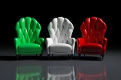 Italian color armchairs. Vintage italian color armchairs on black background Stock Illustration