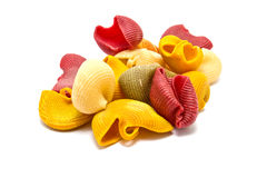 Italian colorful pasta isolated Stock Images
