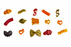 Italian colourful pasta. Italian colourful pasta isolated over white background Stock Images
