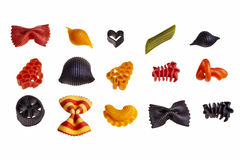 Italian colourful pasta. Italian colourful pasta isolated over white background Stock Photography