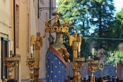 Religious Procession Madonna statue Royalty Free Stock Images