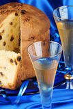 Italian composition with panettone and spumante stock photo