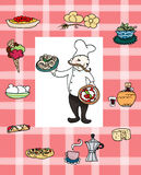 Italian cook. A smiling italian chef with many famous italian foods. Digital illustration Royalty Free Stock Photography
