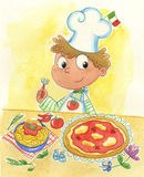 Italian cook. A watercolor of a smiling very young italian chef with pizza and spaghetti