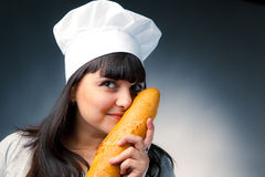Italian cook with bread Royalty Free Stock Photos