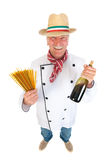 Italian cook with pasta. Funny Italian cook with pasta and wine Royalty Free Stock Images