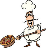 Italian cook with pizza cartoon illustration Royalty Free Stock Photo