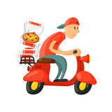 Italian cook pizza delivery boy vector illustration. Stock Images