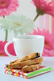 Italian cookie with coffee Stock Photos