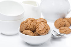 Italian cookies amaretti and crockery for teatime Royalty Free Stock Image
