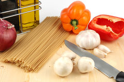 Italian Cooking. Assortment of ingredients commonly used in Italian cooking Royalty Free Stock Images