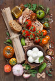 Italian cooking ingridients royalty free stock image