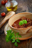 Italian cooking  - meat balls with basil Stock Photos