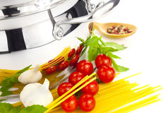 Italian cooking / pasta and saucepan Royalty Free Stock Photography