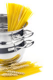 Italian cooking / saucepan with pasta Royalty Free Stock Image