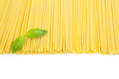 Italian cooking / spaghetti with basil / isolated Royalty Free Stock Images