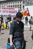 Italian cop during a manifestation Stock Image