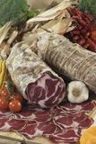 Italian coppa di Parma salami. On cutting board Stock Photography