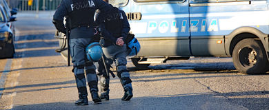 Italian cops with armored car during an anti-terrorism control Royalty Free Stock Photography
