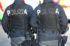 Italian cops with the words POLIZIA That means POLICE in Italian Royalty Free Stock Photos