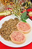 Italian cotechino with lentils Stock Images
