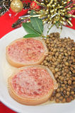 Italian cotechino with lentils closeup Stock Photography