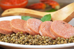 Italian cotechino with lentils Stock Photography