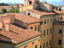 Italian country village homes. Italian country village Tuscany Pisa with homes and terracotta roof and loggia stock images