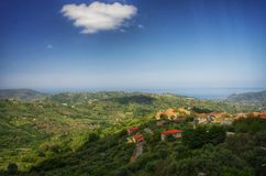 Italian countryside. Hills, sea. Typical rural landscape near Velia. Campania region Royalty Free Stock Images