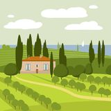 Italian countryside landscape, vector, illustration royalty free illustration