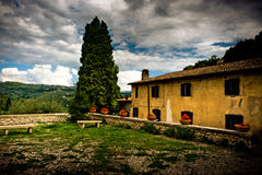 Italian countryside with old building and graden Royalty Free Stock Photography
