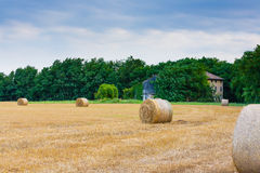 Italian countryside panorama. Round bales on wheat field Stock Photo