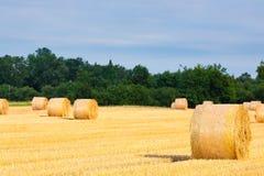 Italian countryside panorama. Round bales on wheat field Stock Image