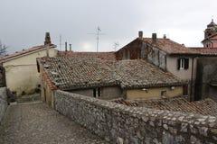 Tile roofs Italian street in palestrina Italy lazio stock photo