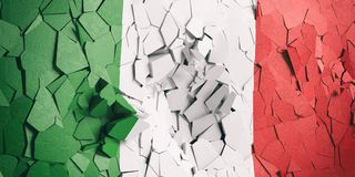 Italian flag on cracked wall background. 3d illustration. Italian crisis. Italy flag on cracked wall background. 3d illustration vector illustration