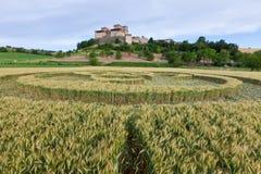 Italian crop circle. Crop circle in front of the castle Torrechiara, Italy Stock Photo