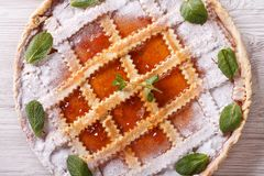 Italian crostata with apricot jam closeup horizontal top view Royalty Free Stock Photography