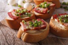 Italian crostini with bacon and mozzarella cheese macro. horizon Stock Image