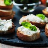 Italian crostini with gorgonzola Royalty Free Stock Images
