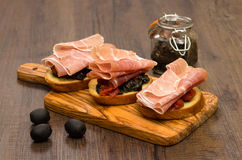 Italian crostini with parma ham Stock Photography