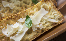 Italian Crustini with Parmigiano Cheese Royalty Free Stock Image
