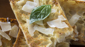 Italian Crustini with Parmigiano Cheese Stock Photography