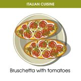 Italian cuisine Bruschetta bread appetizer vector icon for restaurant menu or cooking recipe template Royalty Free Stock Photo