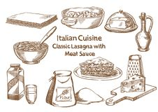 Italian cuisine. Classic lasagna with meat sause ingredients Stock Images